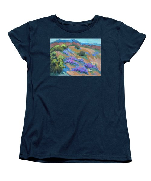 Women's T-Shirt (Standard Cut) featuring the painting Borrego Springs Verbena by Diane McClary