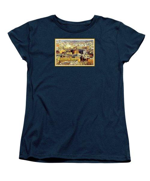 Women's T-Shirt (Standard Cut) featuring the digital art Boston Beantown Rooftops Digital Art by A Gurmankin