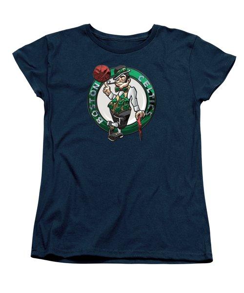 Boston Celtics - 3 D Badge Over Flag Women's T-Shirt (Standard Cut) by Serge Averbukh
