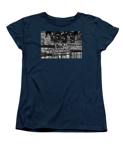 Women's T-Shirt (Standard Cut) featuring the photograph Bostonian Black And White by Frozen in Time Fine Art Photography