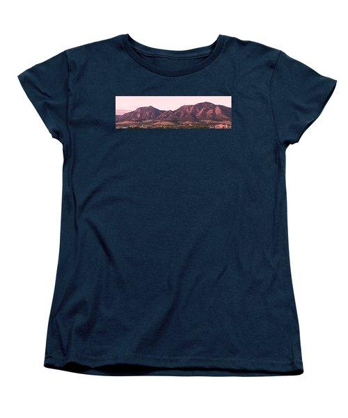Boulder Colorado Flatirons 1st Light Panorama Women's T-Shirt (Standard Cut) by James BO  Insogna
