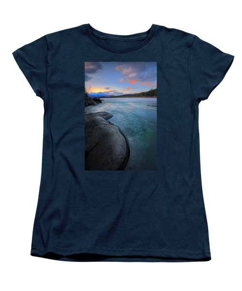 Women's T-Shirt (Standard Cut) featuring the photograph Boulders And Ice On The Athabasca River by Dan Jurak