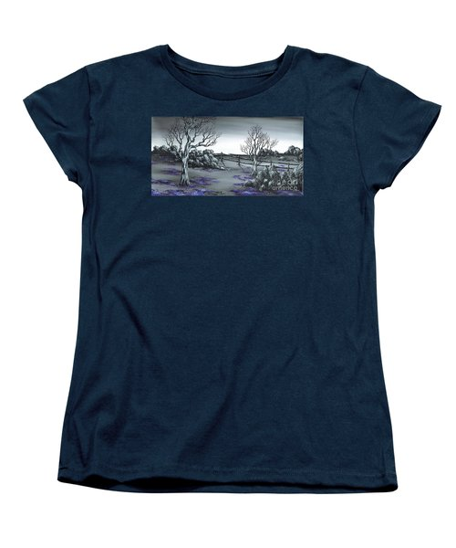 Boundry Fence. Women's T-Shirt (Standard Cut) by Kenneth Clarke