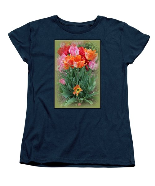 Bouquet Of Colorful Tulips Women's T-Shirt (Standard Cut) by Dora Sofia Caputo Photographic Art and Design