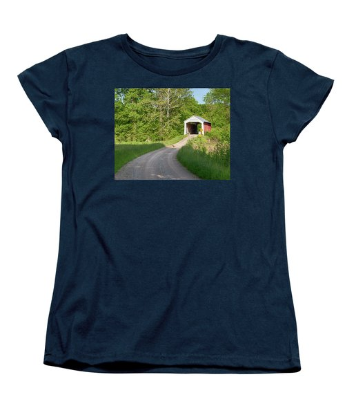 Women's T-Shirt (Standard Cut) featuring the photograph Bowser Ford Covered Bridge Lane by Harold Rau