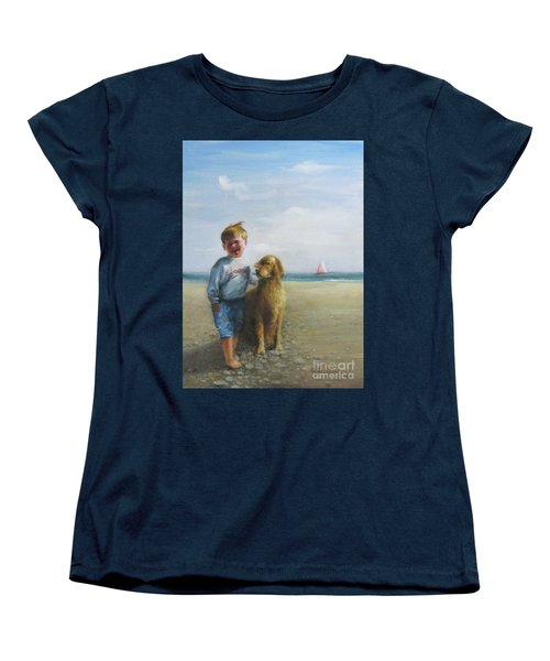 Boy And His Dog At The Beach Women's T-Shirt (Standard Cut) by Oz Freedgood