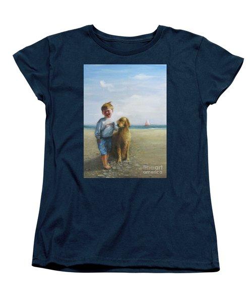 Boy And His Dog At The Beach Women's T-Shirt (Standard Cut)