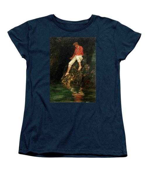 Women's T-Shirt (Standard Cut) featuring the painting Boy Fishing On Rocks  by Henry Scott Tuke
