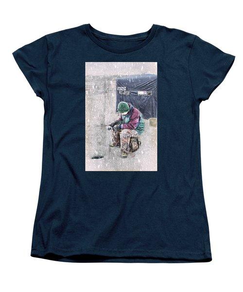 Boy Ice Fishing  Women's T-Shirt (Standard Cut) by Betty Pauwels