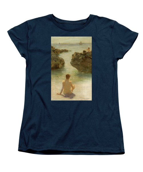 Women's T-Shirt (Standard Cut) featuring the painting Boy On A Beach, 1901 by Henry Scott Tuke