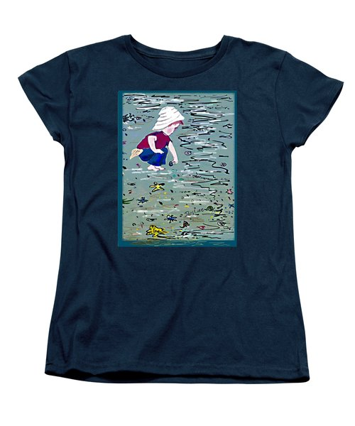 Boy On Beach Women's T-Shirt (Standard Cut) by Desline Vitto