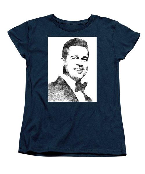 Brad Pitt Bw Portrait Women's T-Shirt (Standard Cut) by Mihaela Pater