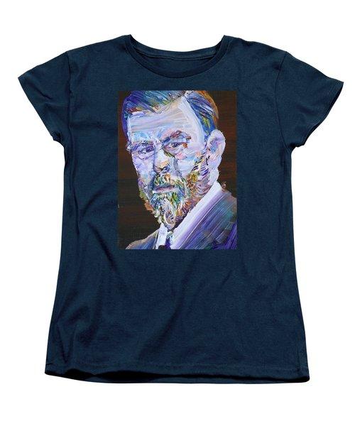 Women's T-Shirt (Standard Cut) featuring the painting Bram Stoker - Oil Portrait by Fabrizio Cassetta