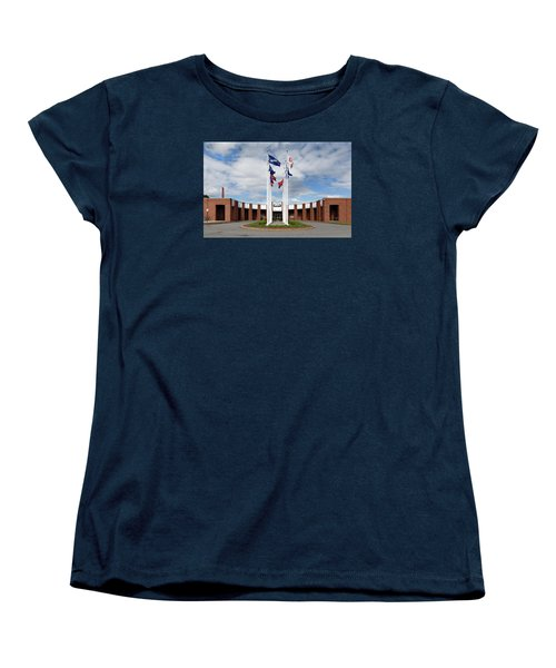 Women's T-Shirt (Standard Cut) featuring the photograph Brandeis University Gosman Sports And Convocaton Center by Betty Denise