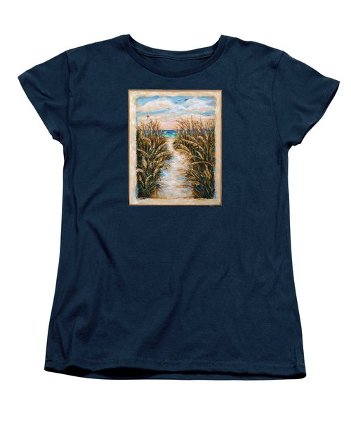 Women's T-Shirt (Standard Cut) featuring the painting Breezy Sea Oats by Linda Olsen