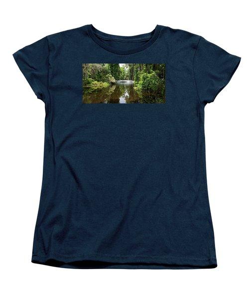 Women's T-Shirt (Standard Cut) featuring the photograph Bridge In The Garden by Sandy Keeton