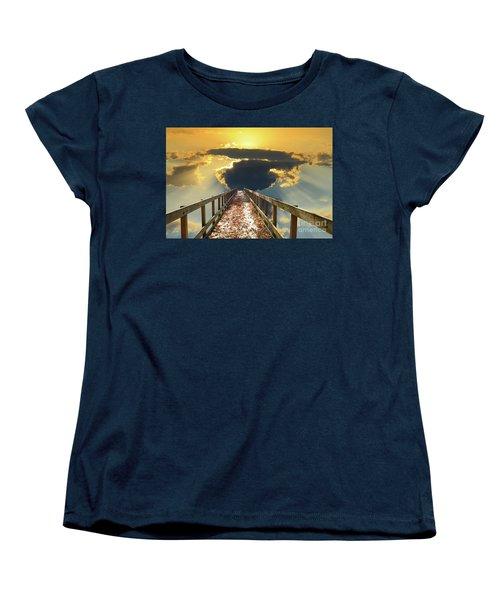 Bridge Into Sunset Women's T-Shirt (Standard Cut) by Inspirational Photo Creations Audrey Woods