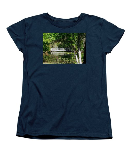 Bridge On Lilly Pond Women's T-Shirt (Standard Cut) by Lori Mellen-Pagliaro