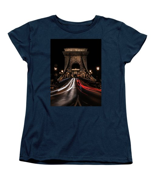 Bridges Of Budapest - Chain Bridge Women's T-Shirt (Standard Cut) by Jaroslaw Blaminsky