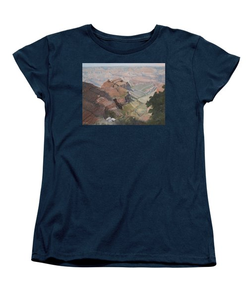 Bright Angel Trail Looking North To Plateau Point, Grand Canyon Women's T-Shirt (Standard Cut) by Barbara Barber