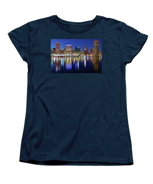 Women's T-Shirt (Standard Cut) featuring the photograph Bright Blue Baltimore Night by Frozen in Time Fine Art Photography