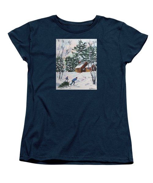 Bringing In The Tree Women's T-Shirt (Standard Cut) by David Gilmore