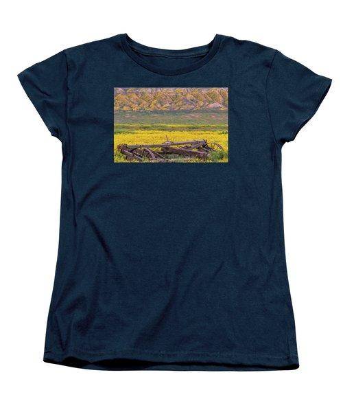 Broken Wagon In A Field Of Flowers Women's T-Shirt (Standard Cut) by Marc Crumpler