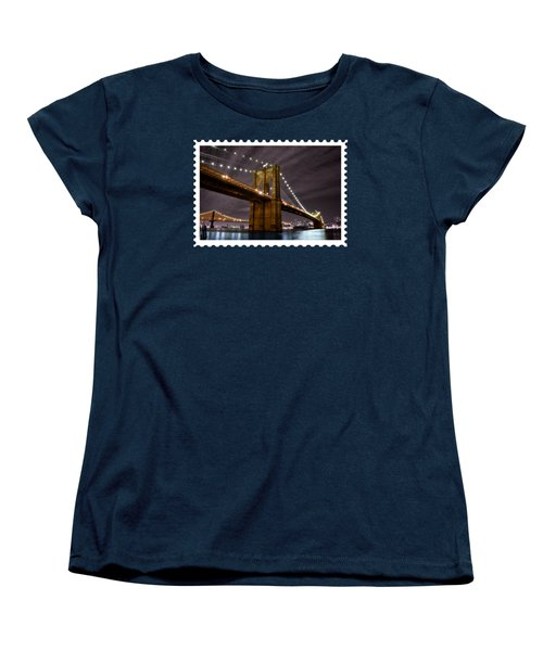 Brooklyn Bridge At Night New York City Women's T-Shirt (Standard Cut) by Elaine Plesser