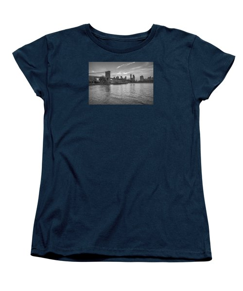 Women's T-Shirt (Standard Cut) featuring the photograph Brooklyn Bridge Monochrome by Scott McGuire