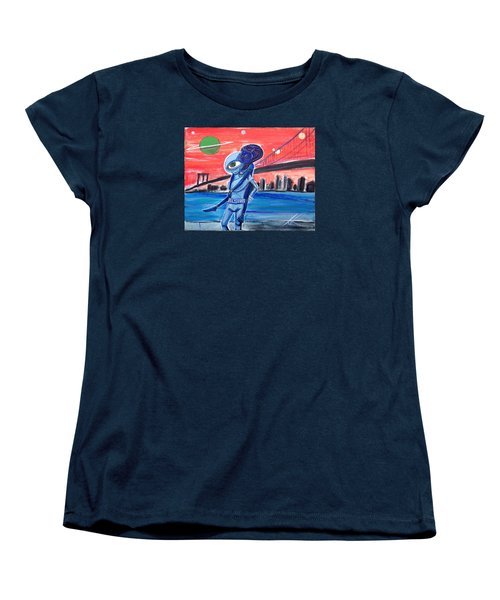 Women's T-Shirt (Standard Cut) featuring the painting Brooklyn Play Date by Similar Alien
