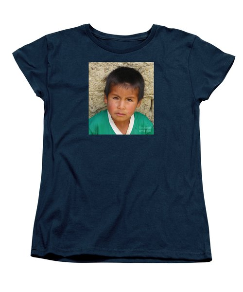 Women's T-Shirt (Standard Cut) featuring the photograph Brown Eyed Bolivian Boy by Lew Davis