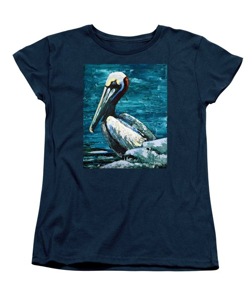Women's T-Shirt (Standard Cut) featuring the painting Brownie On A Seawall by Suzanne McKee