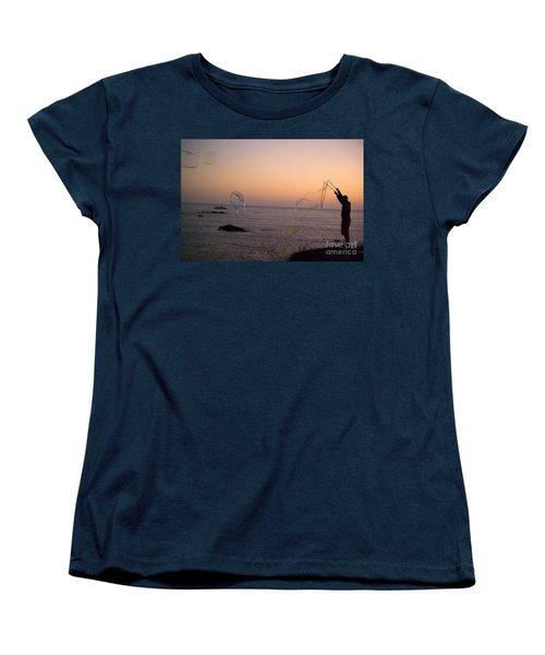 Bubbles On The Beach Women's T-Shirt (Standard Cut) by Jim and Emily Bush