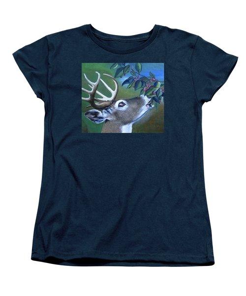 Women's T-Shirt (Standard Cut) featuring the painting Buck by Mary Ellen Frazee