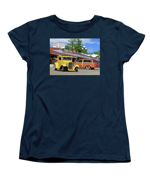 Women's T-Shirt (Standard Cut) featuring the photograph Bud Tent Hot Rods by Christopher McKenzie