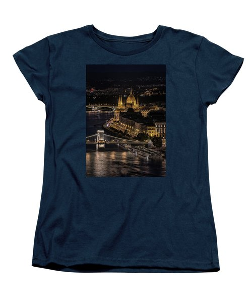 Budapest View At Night Women's T-Shirt (Standard Cut) by Jaroslaw Blaminsky