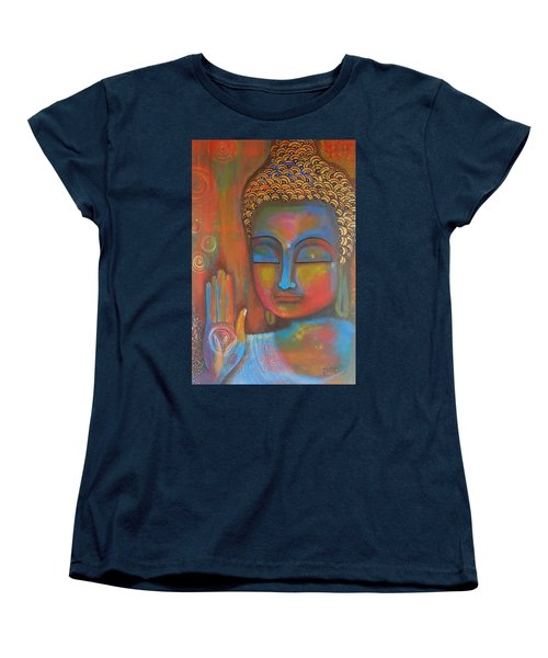 Women's T-Shirt (Standard Cut) featuring the painting Buddha Blessings by Prerna Poojara