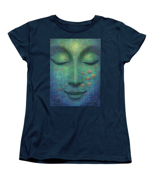 Women's T-Shirt (Standard Cut) featuring the painting Buddha Smile by Sue Halstenberg