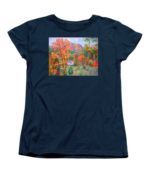 Women's T-Shirt (Standard Cut) featuring the painting Buffalo Mountain In Fall by Kendall Kessler