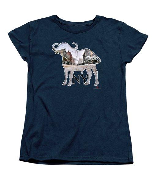Buffalo Ny Snowy Main St Women's T-Shirt (Standard Cut) by Michael Frank Jr