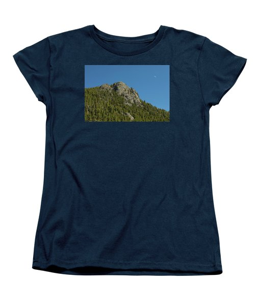 Women's T-Shirt (Standard Cut) featuring the photograph Buffalo Rock With Waxing Crescent Moon by James BO Insogna