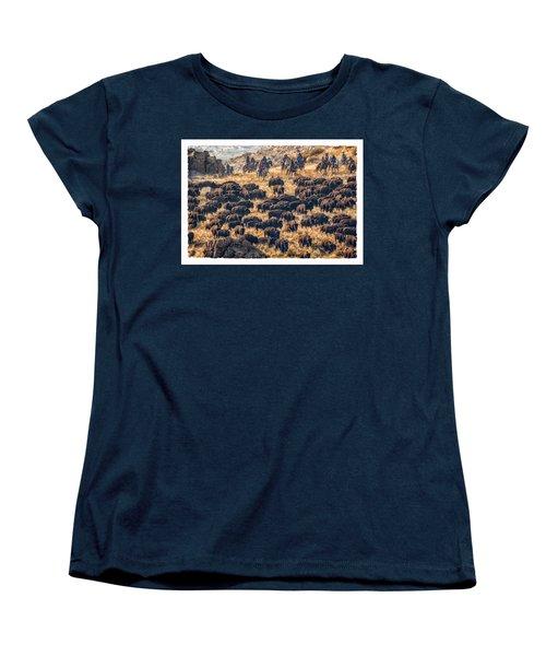 Women's T-Shirt (Standard Cut) featuring the photograph Buffalo Roundup by Kristal Kraft