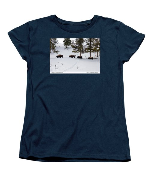 Buffaloes In Yellowstone National Park Women's T-Shirt (Standard Cut) by Carol M Highsmith