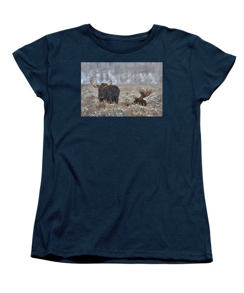 Women's T-Shirt (Standard Cut) featuring the photograph Bull Moose Winter Wandering by Adam Jewell