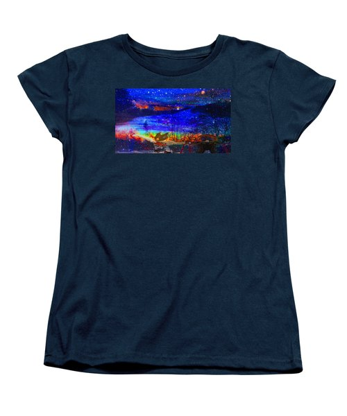 Women's T-Shirt (Standard Cut) featuring the painting Bunnies At The Slopes by Mike Breau