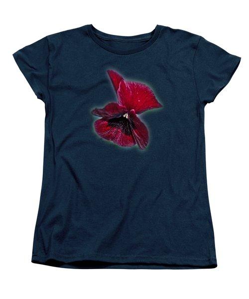 Burgundy Pansy  Tee-shirt Women's T-Shirt (Standard Cut) by Donna Brown