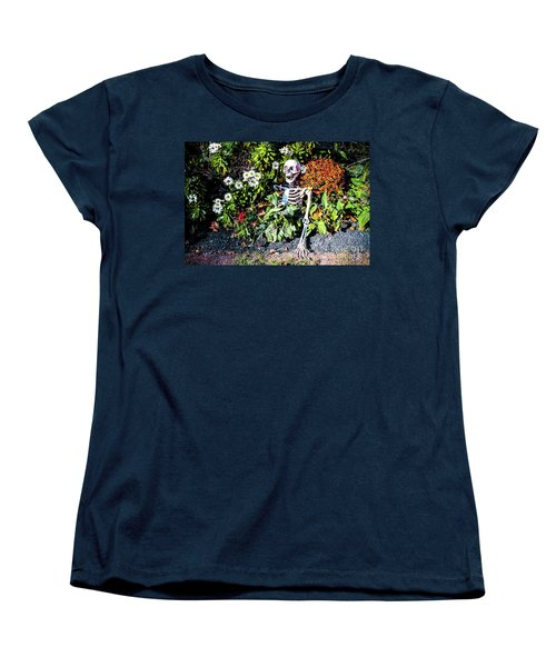 Women's T-Shirt (Standard Cut) featuring the photograph Buried Alive - Skeleton Garden by Colleen Kammerer