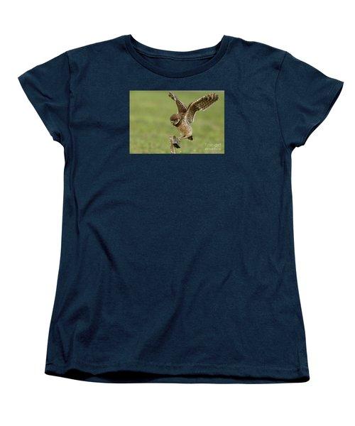 Burrowing Owl - Learning To Fly Women's T-Shirt (Standard Cut) by Meg Rousher