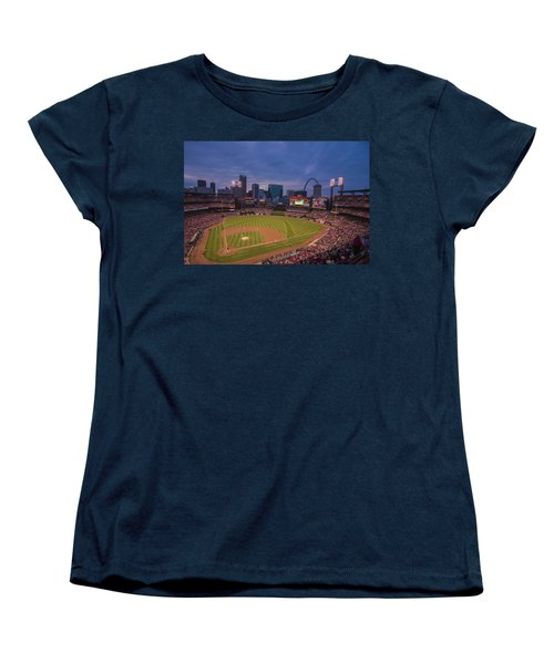 Busch Stadium St. Louis Cardinals Ball Park Village Twilight #3c Women's T-Shirt (Standard Cut) by David Haskett