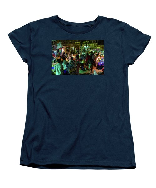 Women's T-Shirt (Standard Cut) featuring the photograph Busy Chennai India Flower Market by Mike Reid